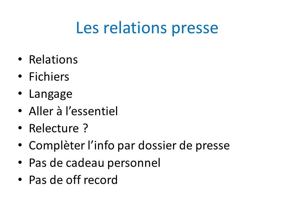 Les relations presse Relations Fichiers Langage Aller à lessentiel Relecture ? Complèter linfo par dossier de presse Pas de cadeau personnel Pas de of