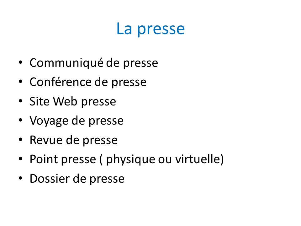 La presse Communiqué de presse Conférence de presse Site Web presse Voyage de presse Revue de presse Point presse ( physique ou virtuelle) Dossier de