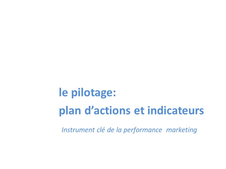 le pilotage: plan dactions et indicateurs Instrument clé de la performance marketing