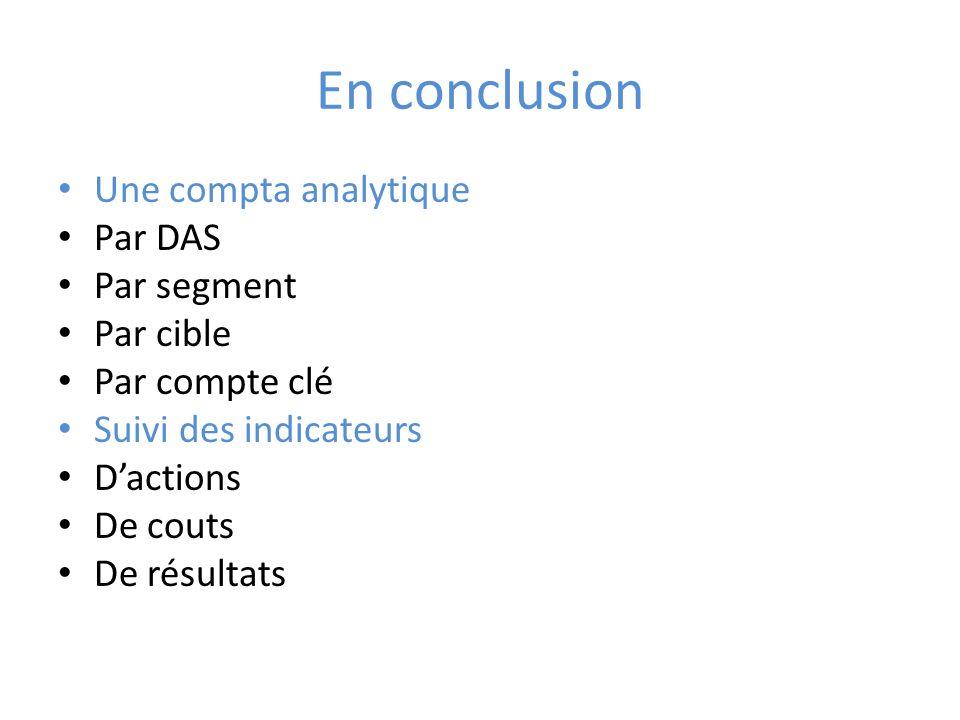 En conclusion Une compta analytique Par DAS Par segment Par cible Par compte clé Suivi des indicateurs Dactions De couts De résultats
