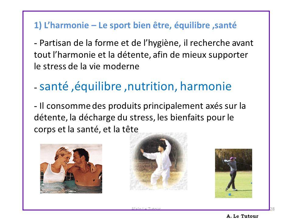 Alain Le Tutour28 A. Le Tutour 1) Lharmonie – Le sport bien être, équilibre,santé - Partisan de la forme et de lhygiène, il recherche avant tout lharm