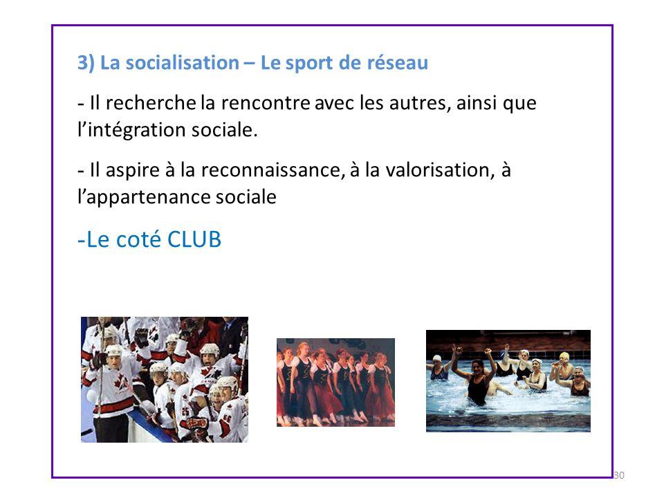 30 3) La socialisation – Le sport de réseau - Il recherche la rencontre avec les autres, ainsi que lintégration sociale. - Il aspire à la reconnaissan