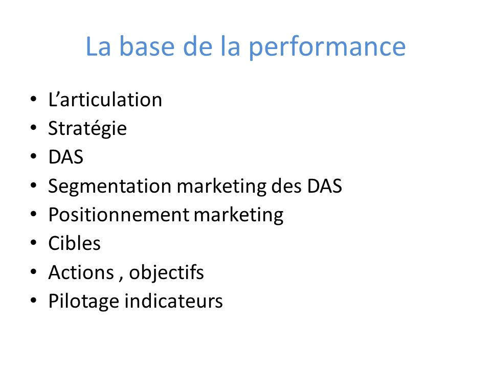 La base de la performance Larticulation Stratégie DAS Segmentation marketing des DAS Positionnement marketing Cibles Actions, objectifs Pilotage indicateurs