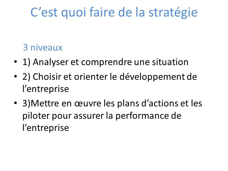 Cest quoi faire de la stratégie 3 niveaux 1) Analyser et comprendre une situation 2) Choisir et orienter le développement de lentreprise 3)Mettre en œ
