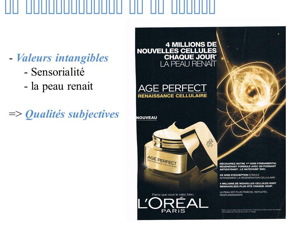 La communication de la marque - Valeurs intangibles - Sensorialité - la peau renait => Qualités subjectives