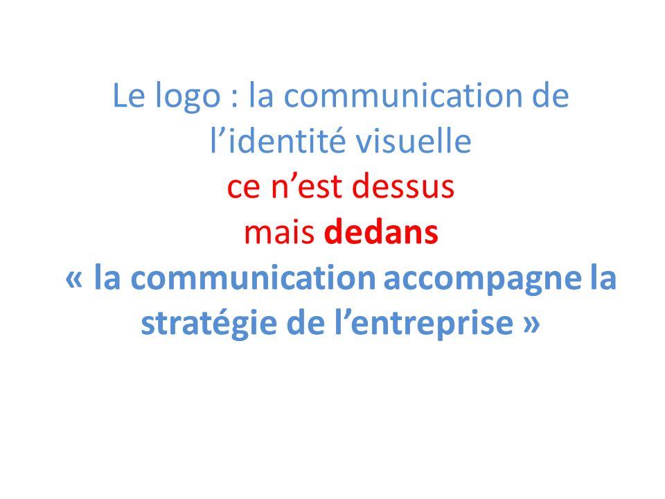 Le logo : la communication de lidentité visuelle ce nest dessus mais dedans « la communication accompagne la stratégie de lentreprise »