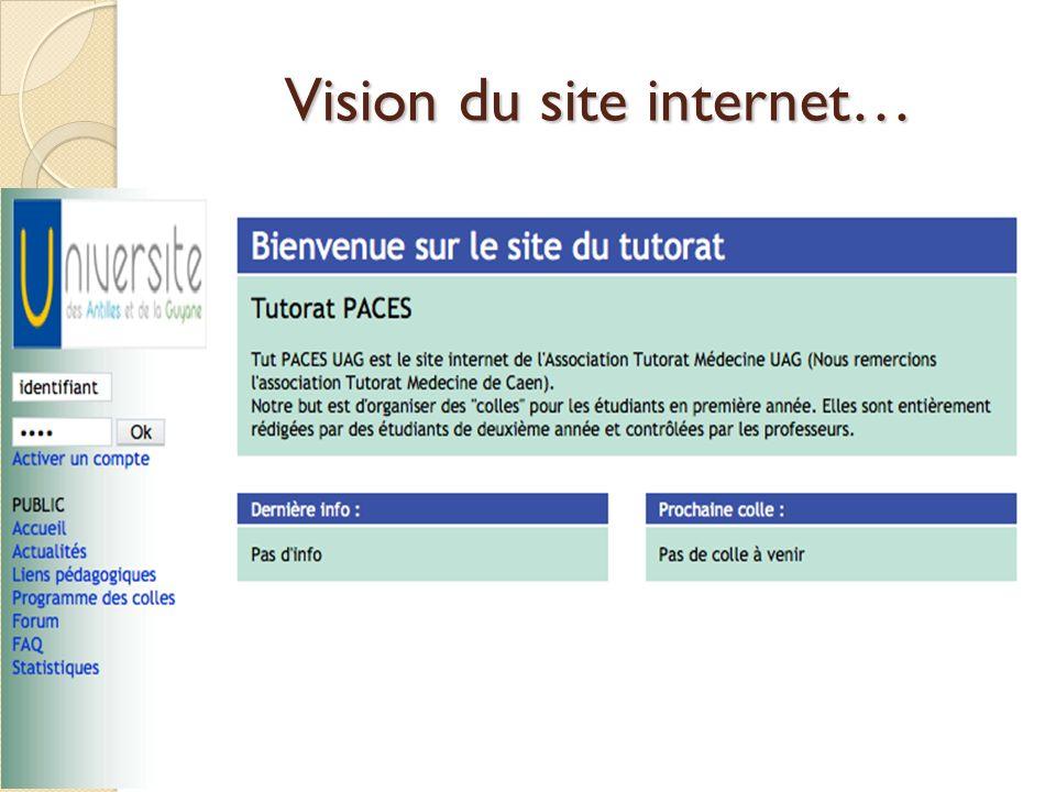 Vision du site internet…
