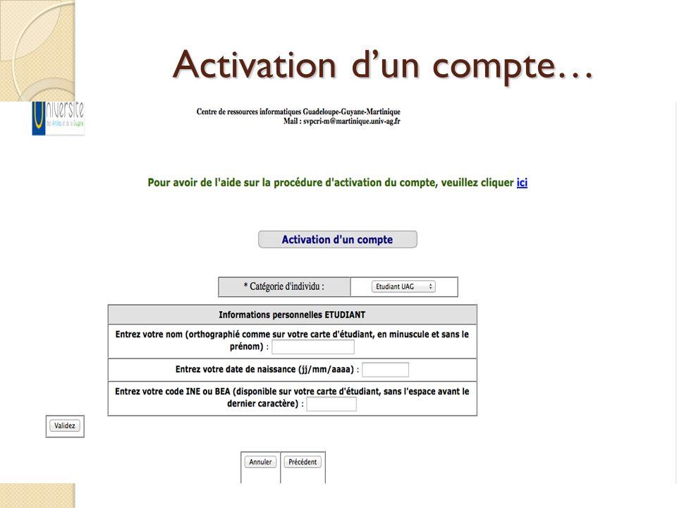 Activation dun compte…