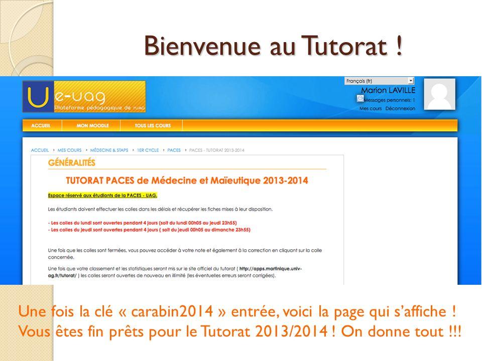 Bienvenue au Tutorat .Une fois la clé « carabin2014 » entrée, voici la page qui saffiche .