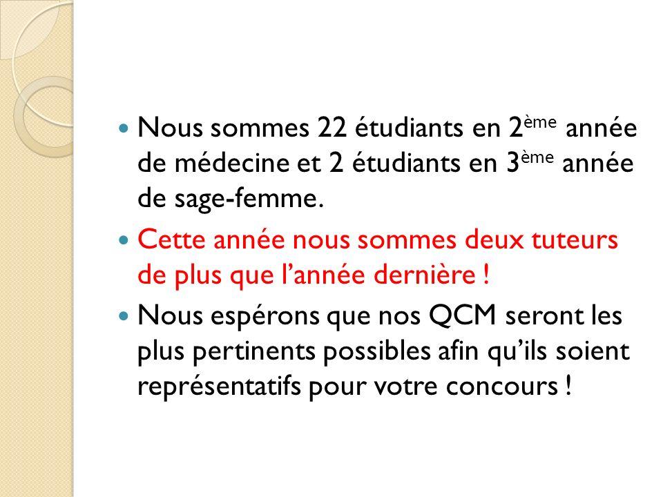 Nous sommes 22 étudiants en 2 ème année de médecine et 2 étudiants en 3 ème année de sage-femme.