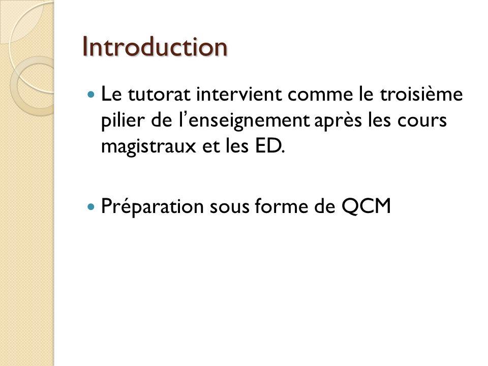 Introduction Le tutorat intervient comme le troisième pilier de lenseignement après les cours magistraux et les ED.