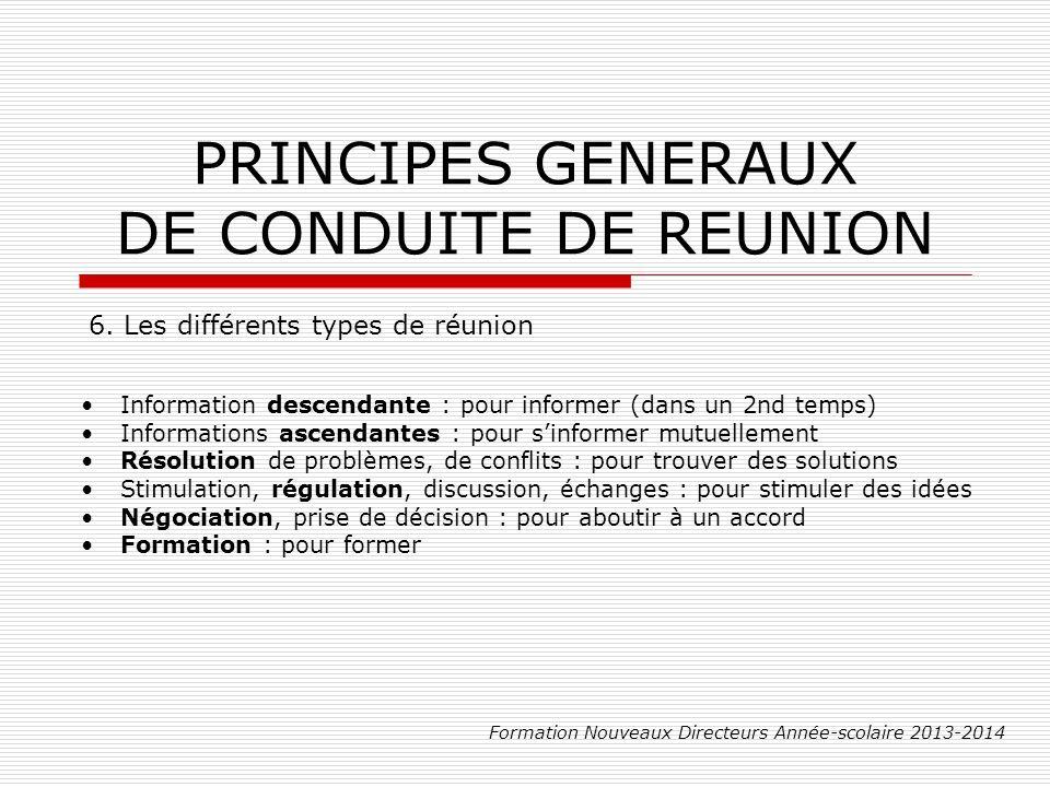 PRINCIPES GENERAUX DE CONDUITE DE REUNION Formation Nouveaux Directeurs Année-scolaire 2013-2014 6.