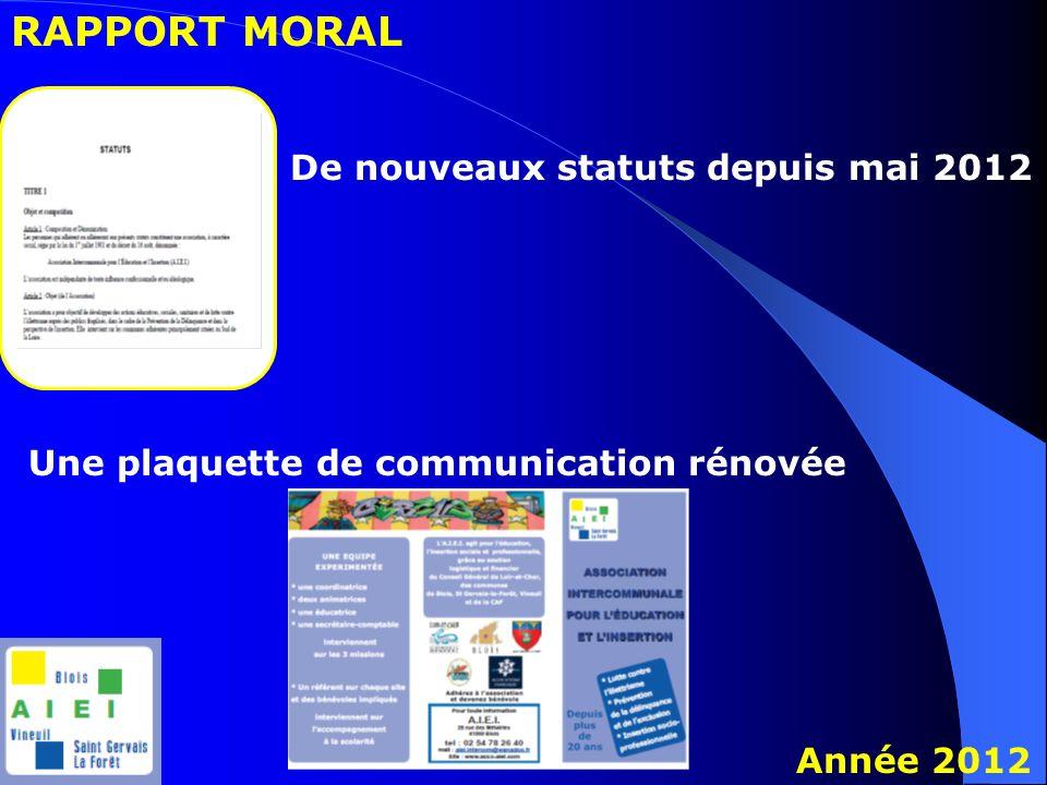 RAPPORT MORAL Année 2012 De nouveaux statuts depuis mai 2012 Une plaquette de communication rénovée