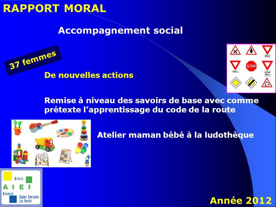 RAPPORT MORAL Année 2012 Accompagnement social 37 femmes De nouvelles actions Remise à niveau des savoirs de base avec comme prétexte lapprentissage d