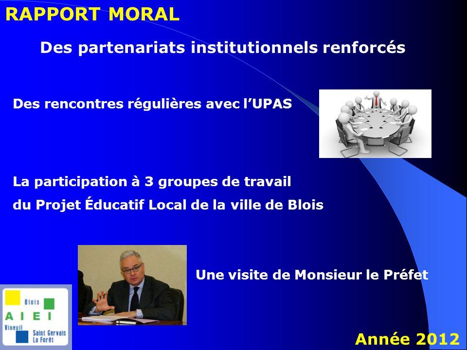 RAPPORT MORAL Année 2012 Des partenariats institutionnels renforcés Des rencontres régulières avec lUPAS Une visite de Monsieur le Préfet La participa