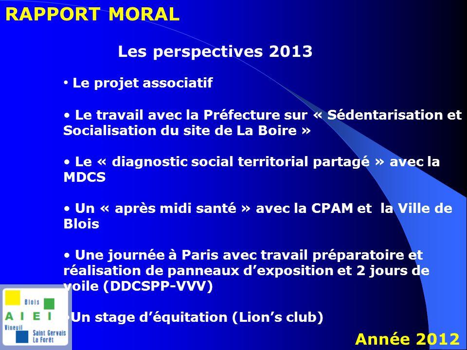 RAPPORT MORAL Année 2012 Les perspectives 2013 Le projet associatif Le travail avec la Préfecture sur « Sédentarisation et Socialisation du site de La