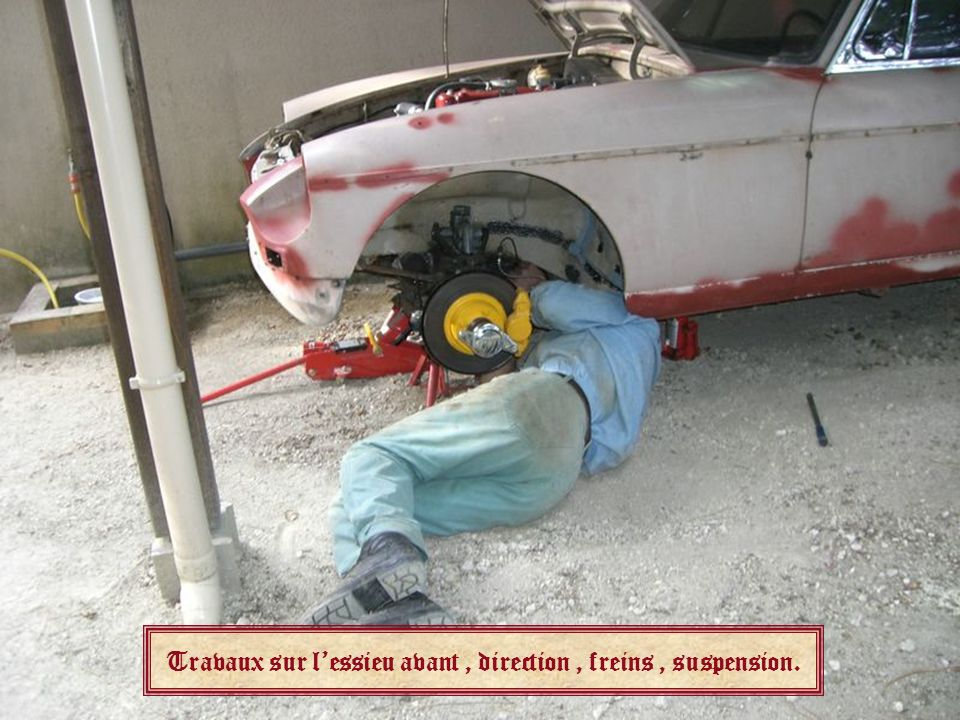 Travaux sur lessieu avant, direction, freins, suspension.