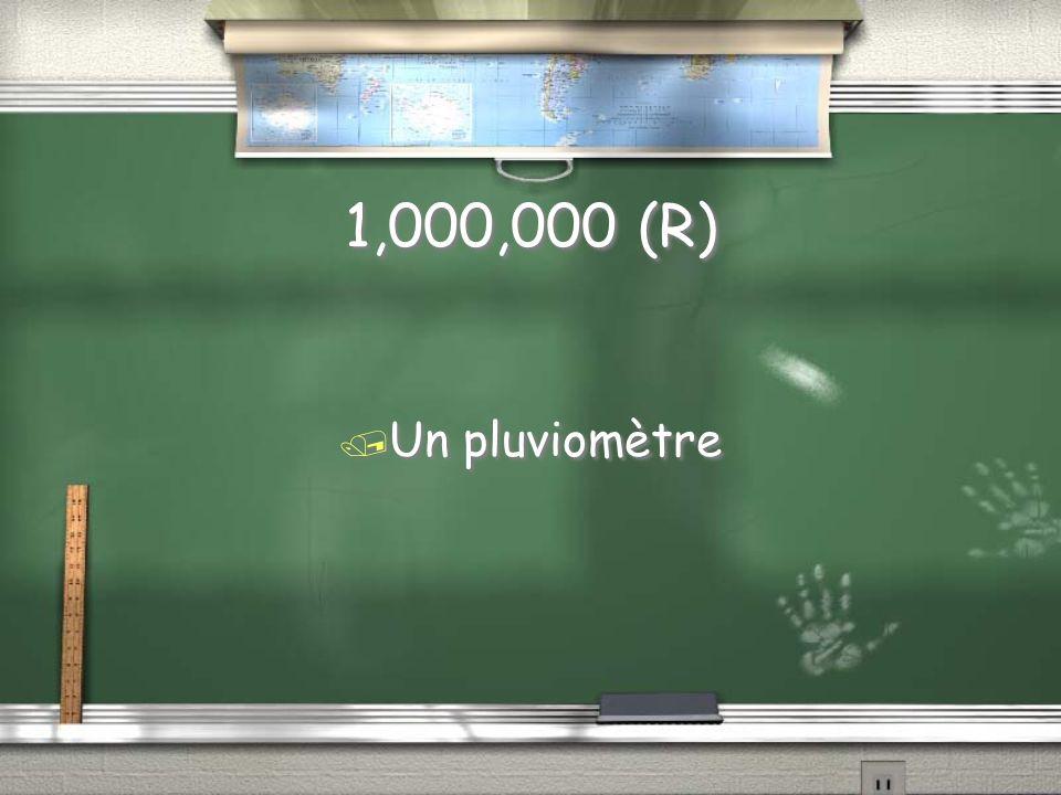 1,000,000 Question / Comment nomme-t-on linstrument servant à mesurer la pluie
