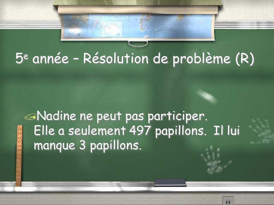 5e année - Résolution de problème / Nadine fait une collection de papillons.