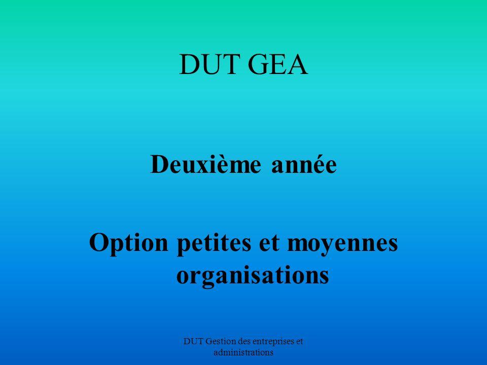 DUT Gestion des entreprises et administrations DUT GEA Deuxième année Option petites et moyennes organisations