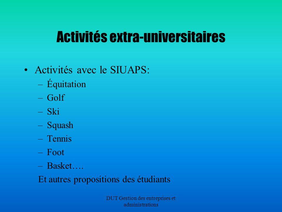 DUT Gestion des entreprises et administrations Activités extra-universitaires Activités avec le SIUAPS: –Équitation –Golf –Ski –Squash –Tennis –Foot –Basket….