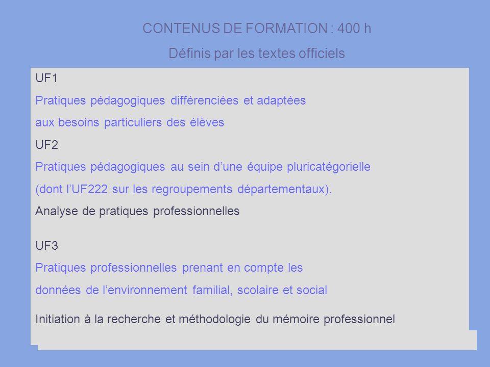 10 UF1 Pratiques pédagogiques différenciées et adaptées aux besoins particuliers des élèves UF2 Pratiques pédagogiques au sein dune équipe pluricatégo