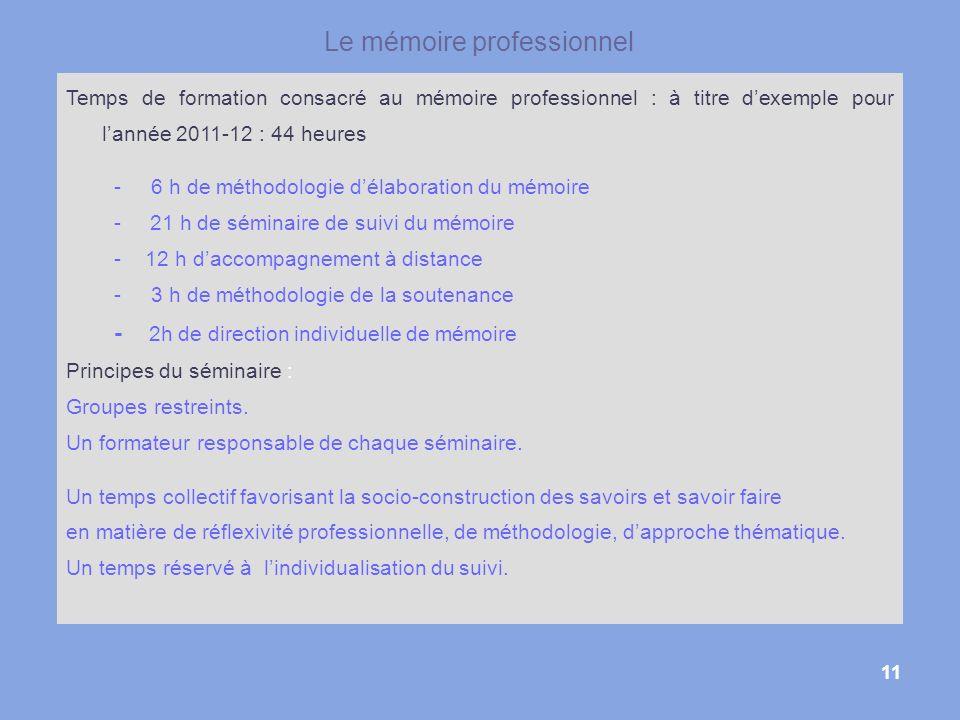 11 Le mémoire professionnel Temps de formation consacré au mémoire professionnel : à titre dexemple pour lannée 2011-12 : 44 heures - 6 h de méthodolo