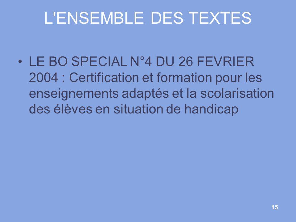 15 L'ENSEMBLE DES TEXTES LE BO SPECIAL N°4 DU 26 FEVRIER 2004 : Certification et formation pour les enseignements adaptés et la scolarisation des élèv