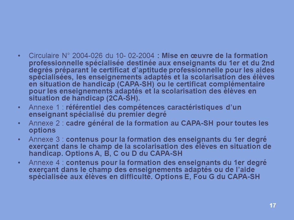 17 Circulaire N° 2004-026 du 10- 02-2004 : Mise en œuvre de la formation professionnelle spécialisée destinée aux enseignants du 1er et du 2nd degrés