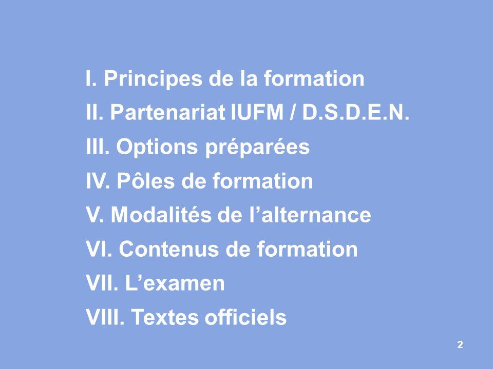 2 I. Principes de la formation II. Partenariat IUFM / D.S.D.E.N. III. Options préparées IV. Pôles de formation V. Modalités de lalternance VI. Contenu