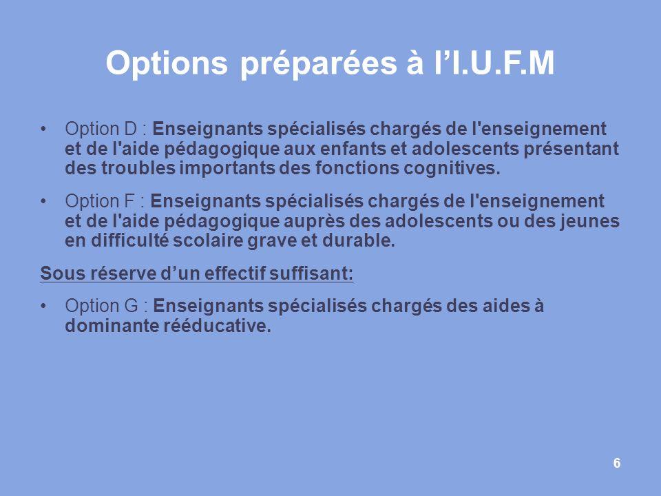 6 Options préparées à lI.U.F.M Option D : Enseignants spécialisés chargés de l'enseignement et de l'aide pédagogique aux enfants et adolescents présen