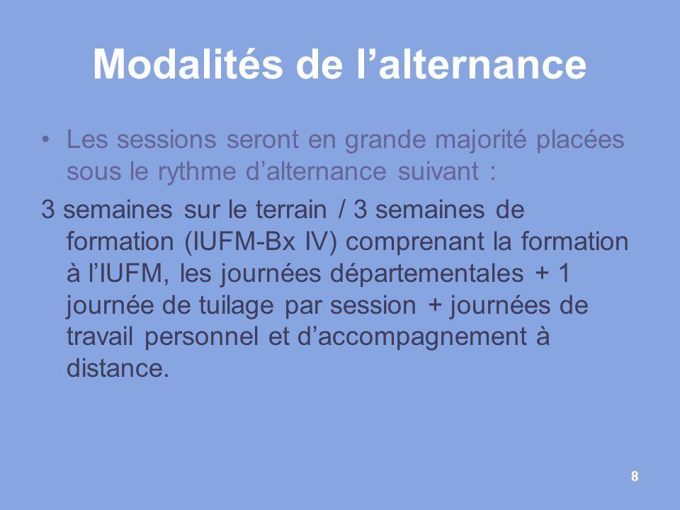 8 Modalités de lalternance Les sessions seront en grande majorité placées sous le rythme dalternance suivant : 3 semaines sur le terrain / 3 semaines