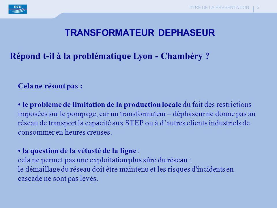 TITRE DE LA PRÉSENTATION 6 EXEMPLE de M.D.E : ALIMENTATION ELECTRIQUE DU BASSIN ANNECIEN (Résultats des travaux du groupe dexperts animé par la DRIRE) - Analyse des besoins à lhorizon 2020 (puissance atteinte en 1998 : 220 MW) + 250 MW dans un scénario MDE (+ 30 MW) + 300 MW dans un scénario sans MDE (+ 80 MW) Conclusion du groupe dexperts : « La mise en place de dispositions de MDE est susceptible à la marge de ralentir lévolution du problème réseau mais ne solutionne pas le problème ».