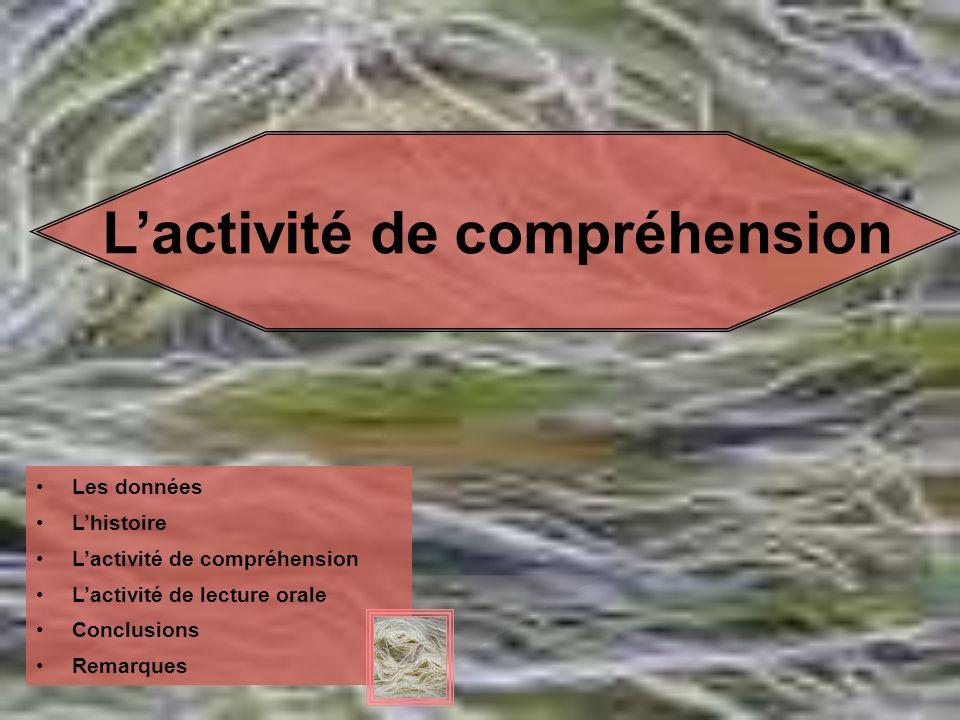 Lactivité de compréhension Les données Lhistoire Lactivité de compréhension Lactivité de lecture orale Conclusions Remarques