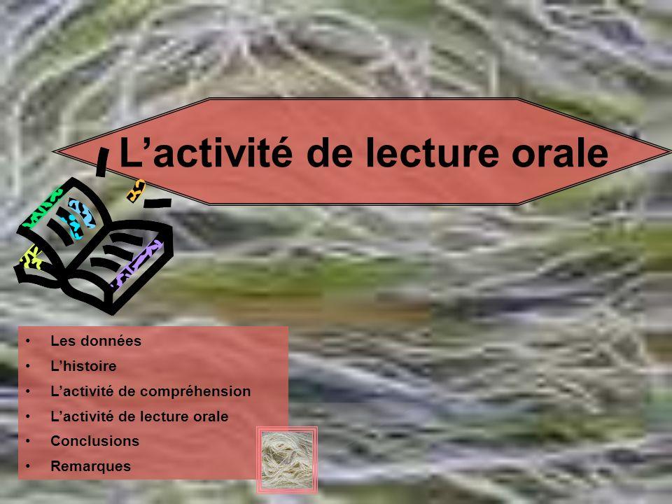 Lactivité de lecture orale Les données Lhistoire Lactivité de compréhension Lactivité de lecture orale Conclusions Remarques