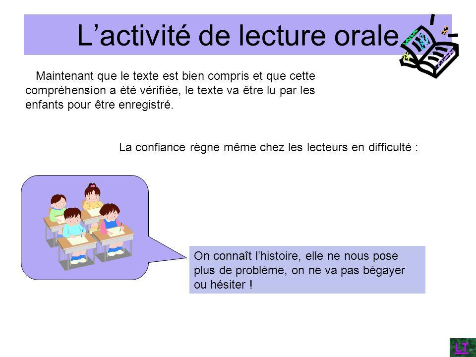 Lactivité de lecture orale Maintenant que le texte est bien compris et que cette compréhension a été vérifiée, le texte va être lu par les enfants pou