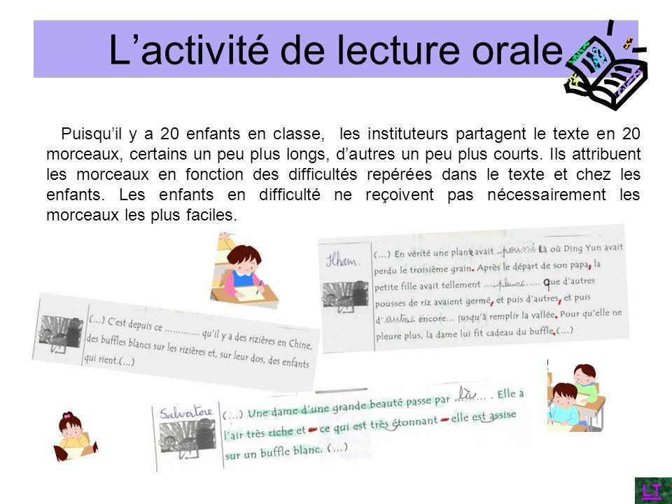 Lactivité de lecture orale Puisquil y a 20 enfants en classe, les instituteurs partagent le texte en 20 morceaux, certains un peu plus longs, dautres
