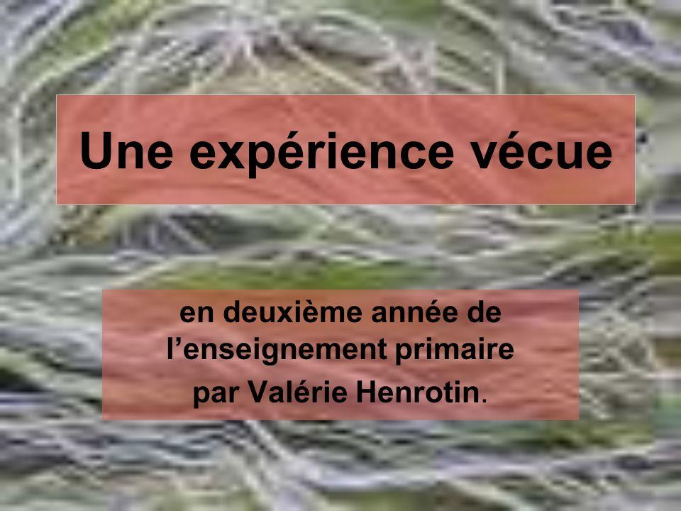 Une expérience vécue en deuxième année de lenseignement primaire par Valérie Henrotin.