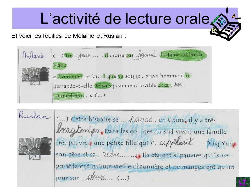 Lactivité de lecture orale Et voici les feuilles de Mélanie et Ruslan : LT