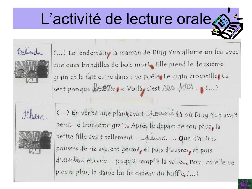 Lactivité de lecture orale LT