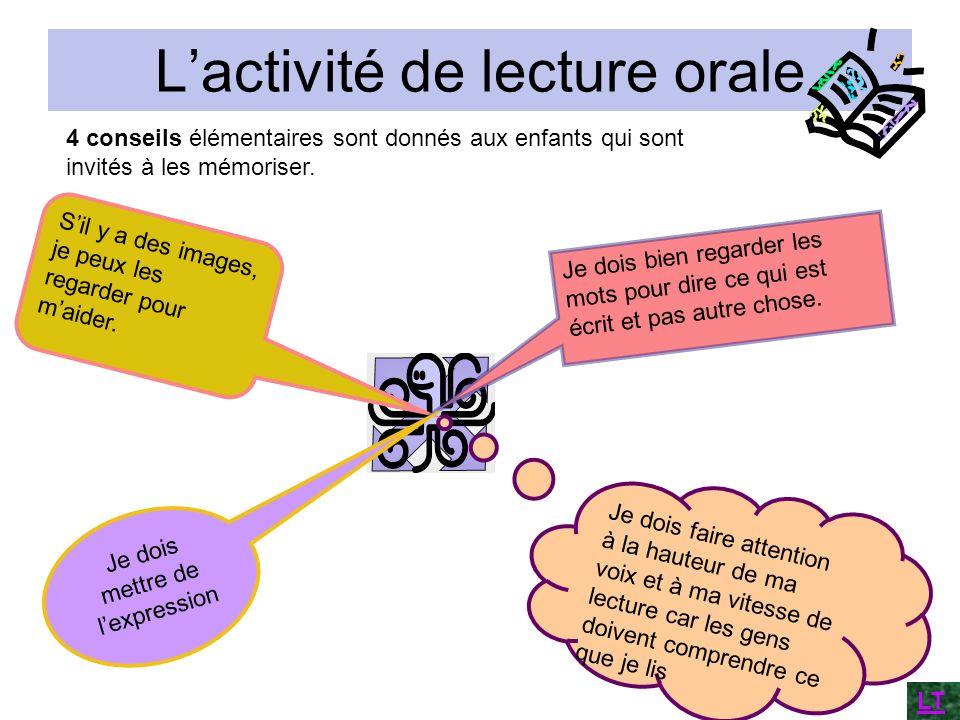 Lactivité de lecture orale 4 conseils élémentaires sont donnés aux enfants qui sont invités à les mémoriser. Je dois faire attention à la hauteur de m