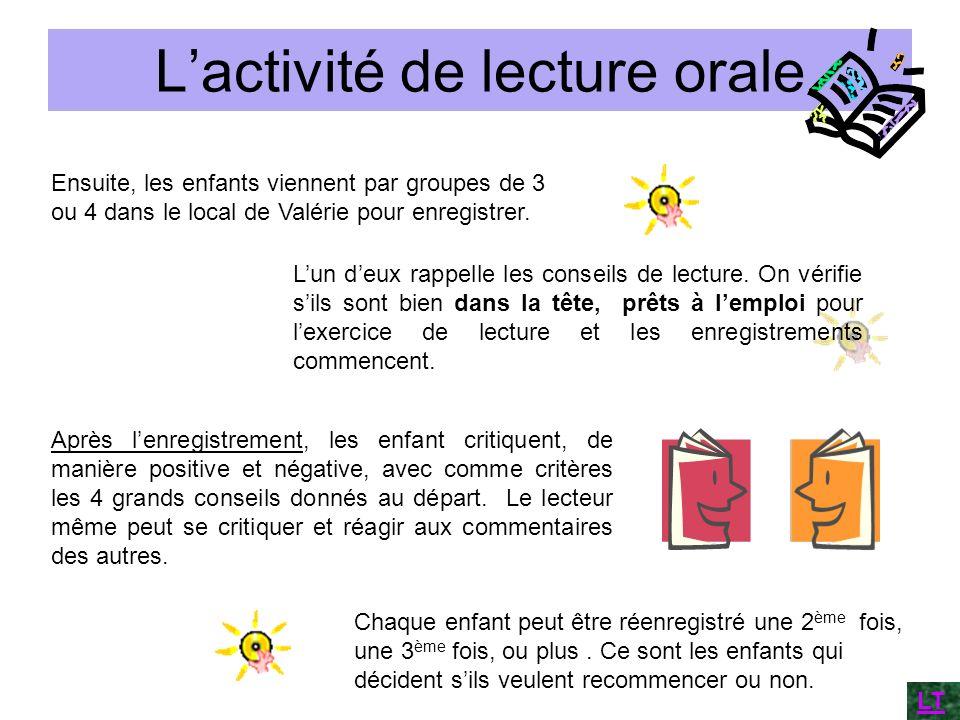 Lactivité de lecture orale Ensuite, les enfants viennent par groupes de 3 ou 4 dans le local de Valérie pour enregistrer. Lun deux rappelle les consei
