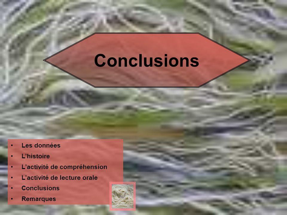 Conclusions Les données Lhistoire Lactivité de compréhension Lactivité de lecture orale Conclusions Remarques