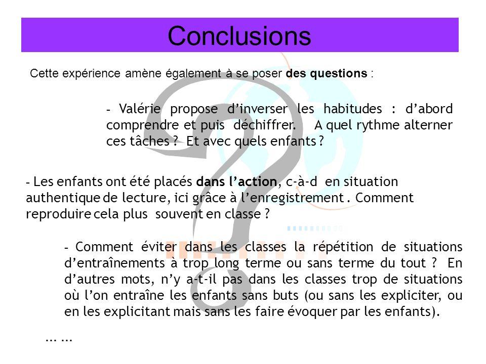 Conclusions - Comment éviter dans les classes la répétition de situations dentraînements à trop long terme ou sans terme du tout ? En dautres mots, ny