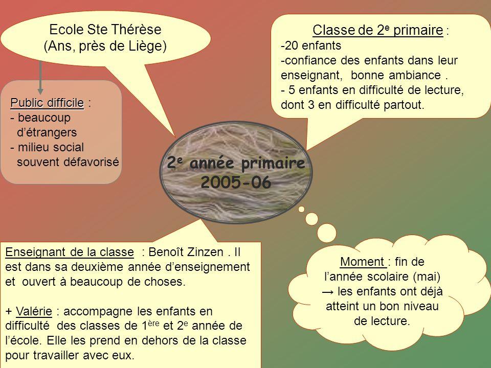 2 e année primaire 2005-06 Ecole Ste Thérèse (Ans, près de Liège) Classe de 2 e primaire : -20 enfants -confiance des enfants dans leur enseignant, bo