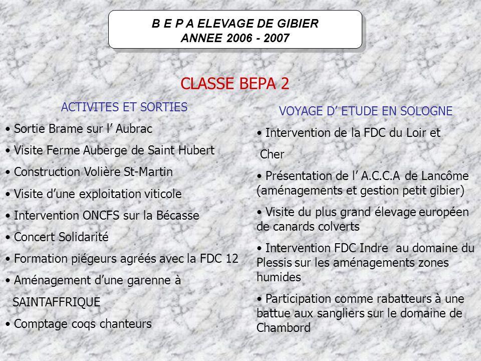 B E P A ELEVAGE DE GIBIER ANNEE 2006 - 2007 RESULTATS EXAMEN 17 reçus sur 17 candidats 100 % de réussite