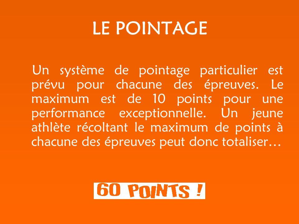LE POINTAGE Un système de pointage particulier est prévu pour chacune des épreuves.