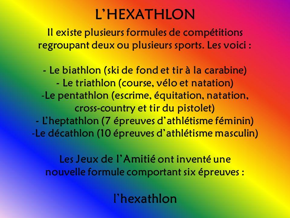 LHEXATHLON Il existe plusieurs formules de compétitions regroupant deux ou plusieurs sports.