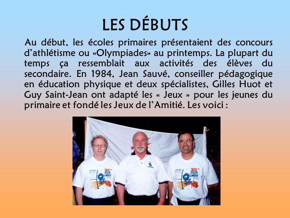 LÉVOLUTION En 1985, les premiers Jeux de lAmitié regroupaient trois écoles.