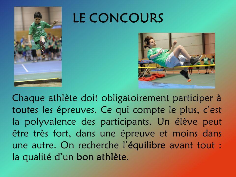 LES ÉPREUVES Les Jeux de lAmitié sont composés de six épreuves : la course de 80 mètres, la course navette, le saut en hauteur, le saut en longueur, le triple saut et le lancer du poids pour le concours régulier.